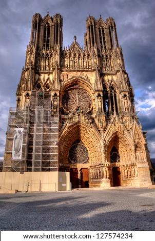 Notre-Dame de Reims, France - stock photo