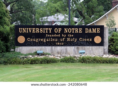 NOTRE DAME, IN - AUGUST 1: An entrance to The University of Notre Dame located in Notre Dame, Indiana on August 1, 2014. Notre Dame is a Catholic research university located near South Bend, Indiana. - stock photo
