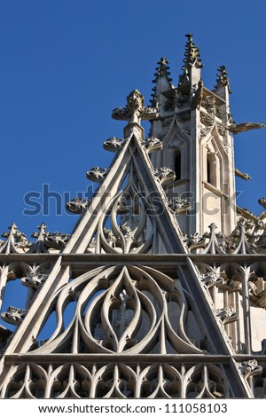 Notre-Dame of Alencon, Normandy France  Basilique details in front of blue sky - Cathedrale in Normandy roof details