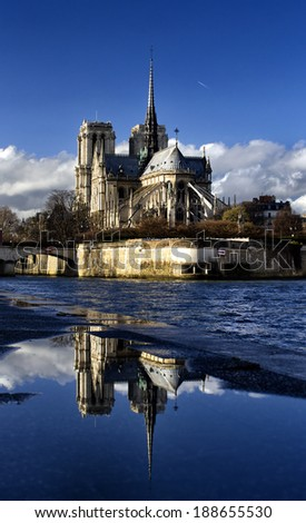 Notre Dame Paris vertical - stock photo
