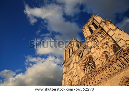Notre Dame, Paris with beauty blue sky - stock photo