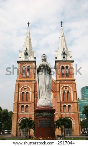 Notre Dame with Virgin Mary in front in Ho Chi Minh City, Vietnam