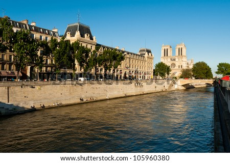 Notredame cathedral Paris France Europe - stock photo