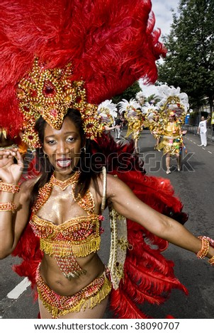 Notting Hill, London-August 31: Dancers from the Paraiso School of Samba float at the Notting Hill Carnival August 1st, 2009 in Notting Hill, London - stock photo