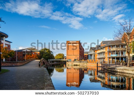 NOTTINGHAM, ENGLAND - OCTOBER 19: Nottingham British Waterways building reflected in the canal. In Nottingham, England. On 19th October 2016.
