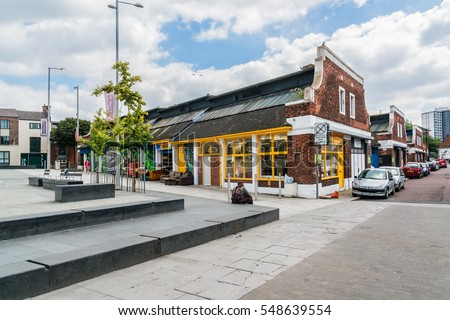 NOTTINGHAM, UK - AUGUST 13, 2016: View of Sneinton market (1850s). On Sneinton Market taken by the stalls of wholesale fruit, vegetable, fish, poultry and game.
