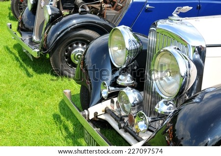 NOTTINGHAM, UK - JUNE 1, 2014: Close up of a Bentley vintage car for sale in Nottingham, England. - stock photo