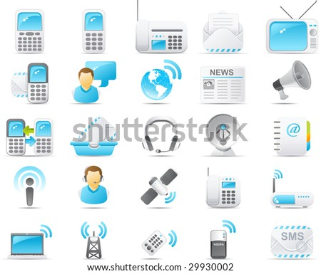 Nouve vector icons. Wireless and communication technology icon graphics - stock photo