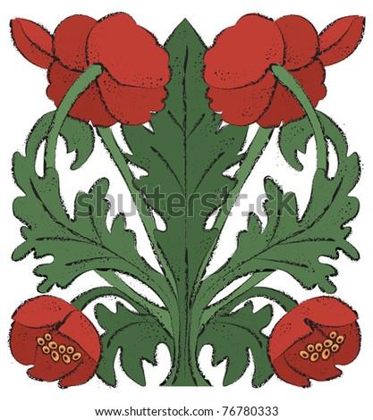 Nouveau Poppies - Raster Version - stock photo