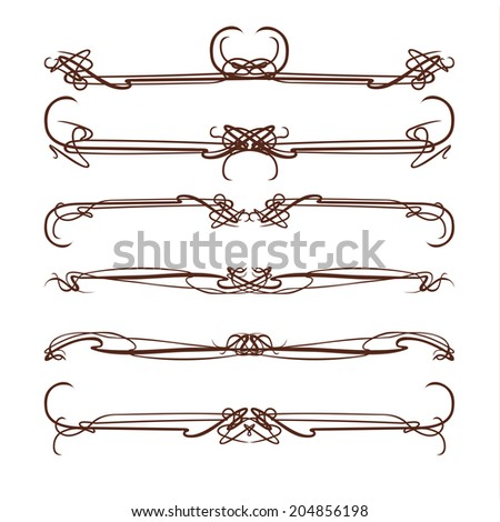 Nouveau style ornament elegance ornate scroll pattern - stock photo