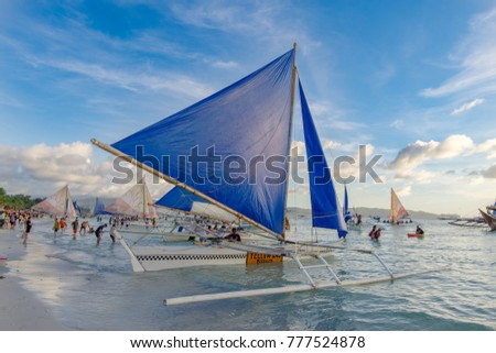 Nov 19,2017 Sailing boat waiting tourist at White beach, Boracay, Philippines