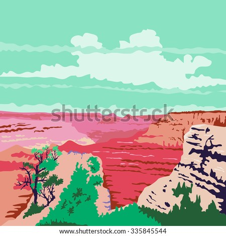 NOV. 3, 2015:  WPA style illustration of the Grand Canyon a steep-sided canyon carved by the Colorado River in Arizona, United States done in retro style.  - stock photo