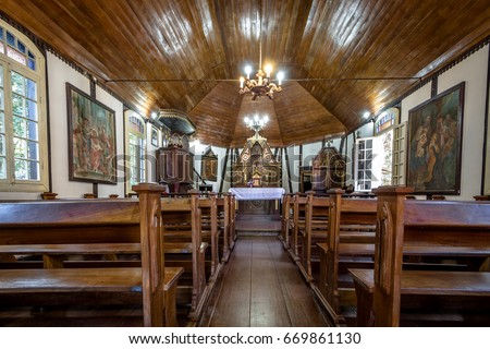 NOVA PETROPOLIS, BRASIL - Jun 27, 2017: Interior View of German Fachwerk Style Church at Immigrant Village Park (Parque Aldeia do Imigrante) - Nova Petropolis, Rio Grande do Sul, Brazil