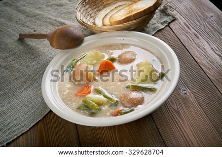 Nova Scotia  Hodge Podge - soup made of a mixture of various ingredients. - stock photo