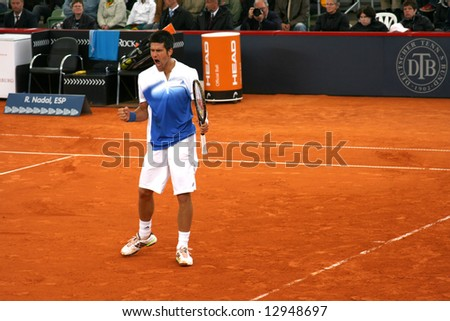Novac Djokovic, reactions in the semi-finals of Tennis Master Series in Hamburg, 17th of May, 2008.