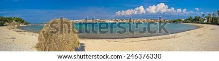 Novalja beach on Pag island panoramic view, Croatia - stock photo