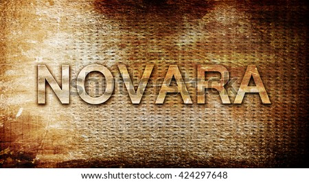 Novara, 3D rendering, text on a metal background