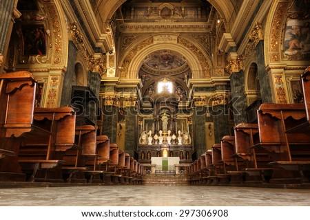 NOVARA, ITALY - JUNE 5, 2015: San Marco XVII Church, interior view of the central nave - stock photo