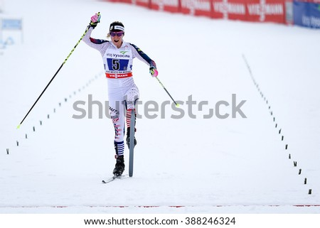Nove Mesto na Morave, Czech Republic - January 24, 2016: FIS Cross Country World Cup, Ladies 4 x 5.0km relay classic/free. Team USA finishing 2nd, finisher DIGGINS Jessica.