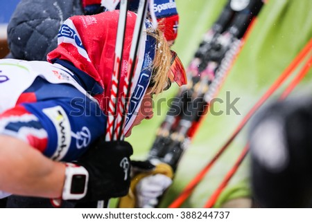 Nove Mesto na Morave, Czech Republic - January 23, 2016: FIS Cross Country World Cup, women distance 10km competition.