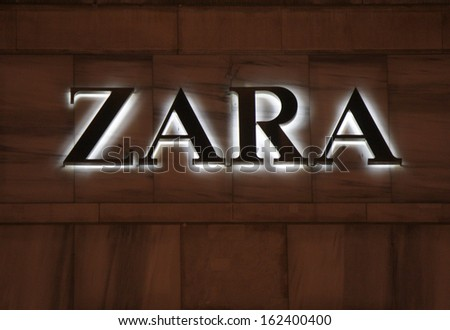 "NOVEMBER 2013 - BERLIN: brands: the logo of the clothing company ""Zara"", Berlin."