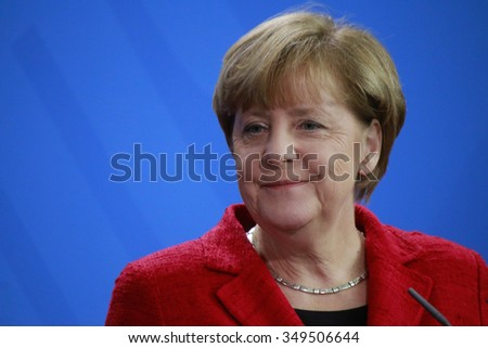 NOVEMBER 13, 2015 - BERLIN: German Chancellor Angela Merkel at a press conference after a meeting with the Australian Prime Minister in the Federal Chanclery. - stock photo