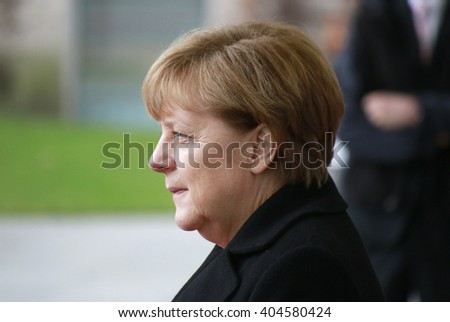 NOVEMBER 13, 2015 - BERLIN: German Chancellor Angela Merkel before a meeting with the Australian Prime Minister in the Federal Chanclery. - stock photo