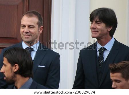 NOVEMBER 10, 2014 - BERLIN: Hansi Flick, Joachim Loew - official reception of the German national football team (world champion 2014) at the Schloss Bellevue. - stock photo