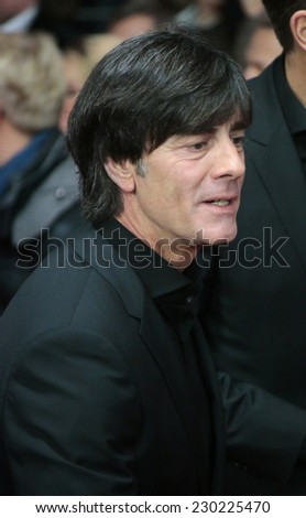 """NOVEMBER 10, 2014 - BERLIN: Joachim Loew - premiere of the documentary film """"Die Mannschaft"""" (the team) about the win of the football world cup 2014, Sony Center, Berlin. - stock photo"""