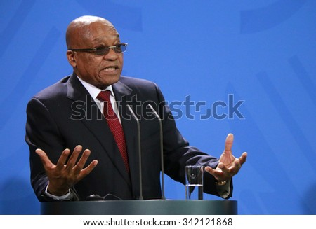NOVEMBER 10, 2015 - BERLIN: South African President Jacob Zuma at a press conference after a meeting with the German Chancellor in the Federal Chanclery in Berlin. - stock photo