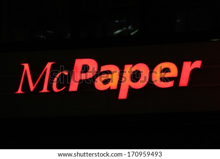 "NOVEMBER 2013 - BERLIN: the logo of the brand ""McPaper"", Berlin."