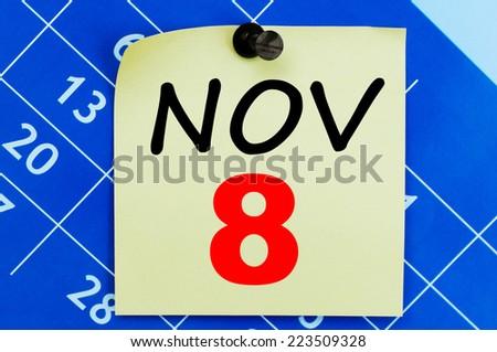 November 8 calendar - stock photo
