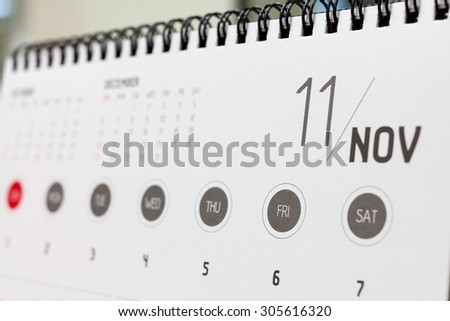 November calendar header. 2015 year calendar. - stock photo