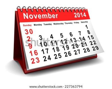 november 2014 calendar page, over white background - stock photo