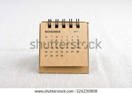 November. Calendar sheet. Two thousand seventeen year calendar on bright background.