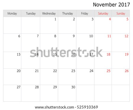November 2017 Calendar Template Big Space Stock Illustration