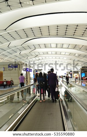 November 2016 - Hong Kong International Airport which is one the busiest airports around the world. There is the escalator inside modern interior building