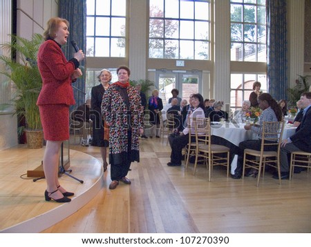 NOVEMBER 2004 - Janet McCain Huckabee and other Arkansas first ladies of the State Capital of Arkansas speak at luncheon.