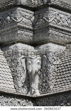 NOVEMBER 28, 2014 : NAN-THAILAND : Traditional Thai style art of stucco in Pillar, Nan province, Thailand