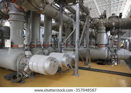NOVEMBER 29, 2014 : NAN - THAILAND : Under installation of equipment for Extra high voltage electrical power 500 kV Gas Insulated Switchgear. ( GIS )