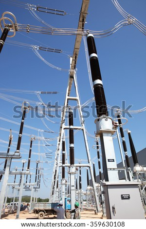 NOVEMBER 28, 2014 : NAN - THAILAND : Under installation of outdoor equipment for Extra high voltage electric power 500 kV Gas Insulated Switchgear. ( GIS )