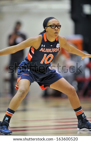 NOVEMBER 16 - PHILADELPHIA: Auburn Tigers guard Brandy Montgomery (10) on defense during the NCAA ladies basketball game against Temple  November 16, 2013 in Philadelphia