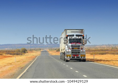 November 18, 2009. Road train in outback Queensland, Australia.