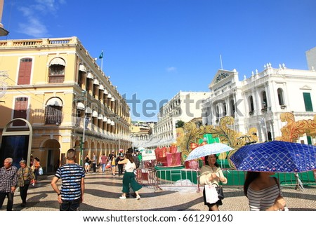 November 21, 2016 - Senado Square, Macau Senado Square is located at the city center in Macau surrounded by Portuguese-style buildings
