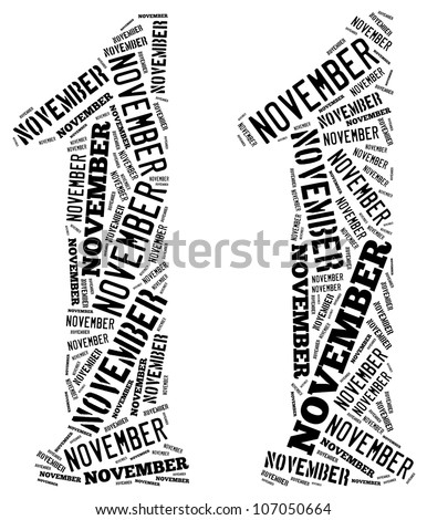 November text graphics composed in number 11 on white background - stock photo
