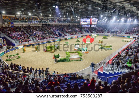 November 4, 2017. Toronto, Canada. Rider is competing during the Royal Horse Show at throughout The Royal Agricultural Winter Fair on November 3-12, 2017 at Ricoh Coliseum in Toronto, Canada