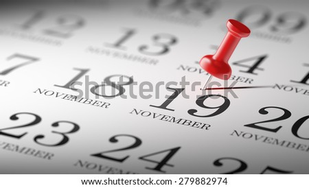 November 19 written on a calendar to remind you an important appointment.
