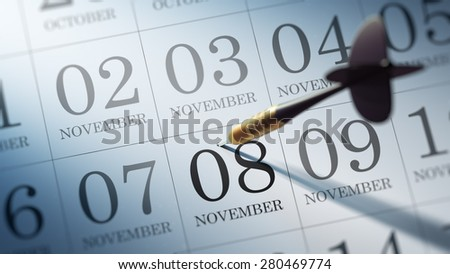 November 08 written on a calendar to remind you an important appointment.