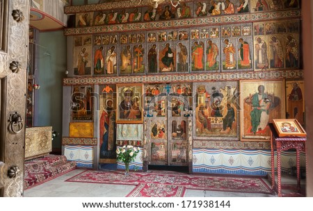 NOVGOROD, RUSSIA - AUGUST 10, 2013 : Interior of the St. Sophia Cathedral  in Veliky Novgorod, Russia. St. Sophia Cathedral was founded in 1050