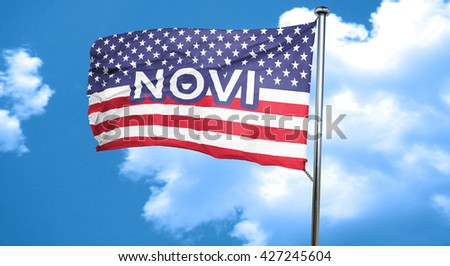 novi, 3D rendering, city flag with stars and stripes